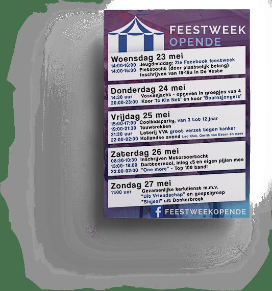Flyer en poster Feestweek Opende 2018
